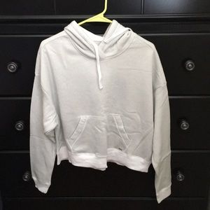 Oversized White Cropped Hoodie